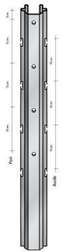 Palo con asole interne da 52x35 mm. altezza 2.50 Cor-ten