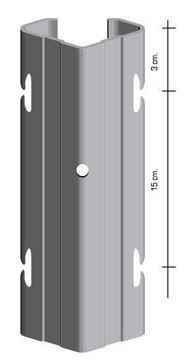 """Immagine di Palo h2,30 con asole interne a """"V"""" da 70x40 mm. Zincato a caldo - 150 PEZZI"""