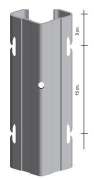 """Immagine di Palo h2,30 con asole interne a """"V"""" da 70x40 mm. Prezincato - 10 PEZZI"""