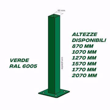Picture of Palo quadro verde per recinzione con piastra 60 x 60 x 1,5 Kit 2 PZ